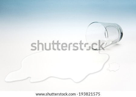 Empty glass of water with waterlogging - stock photo