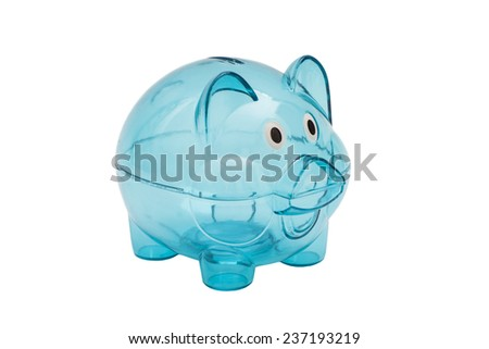 Empty glass piggy bank isolated on white - stock photo