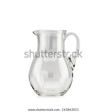 Empty glass pitcher on white background isolated - stock photo