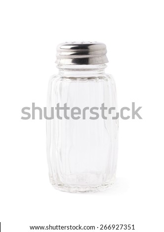 Empty glass salt bottle isolated over the white background