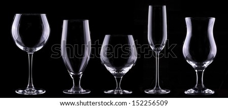 empty glass  set isolated on a black background - beer,wine,champagne,scotch,cocktail