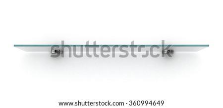 empty glass shelf isolated on white wall - stock photo