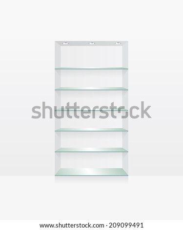 Empty glass shelves on white wall - stock photo