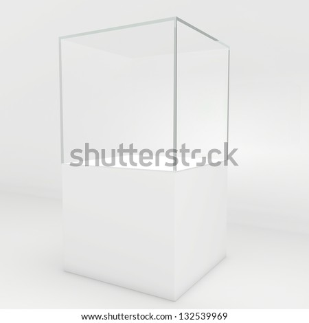 Empty glass showcase - stock photo