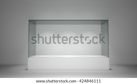 Empty glass showcase, exhibition copy space. 3D rendering - stock photo
