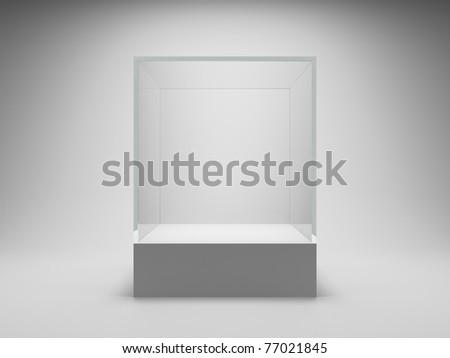 Empty glass showcase for exhibit - stock photo