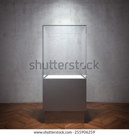 Empty glass showcase for exhibit. 3d rendering - stock photo