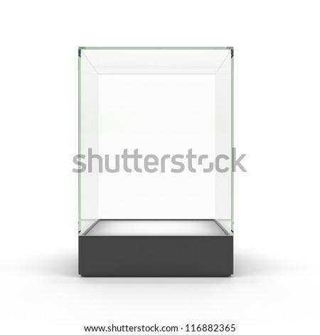 Empty glass showcase for exhibit isolated - stock photo