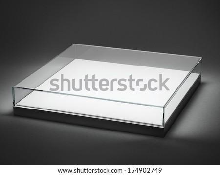 Empty glass showcase for exhibit isolated on black - stock photo