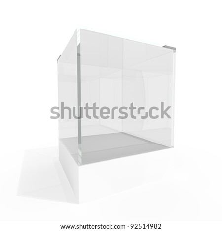 Empty glass showcase for exhibit isolated on white background - stock photo