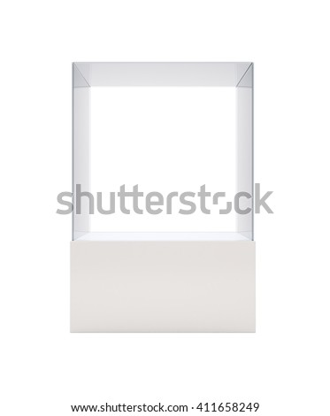 Empty glass showcase for exhibit isolated on white background. 3D rendering - stock photo