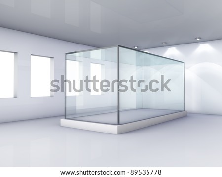Empty glass showcase in grey room with windows - stock photo
