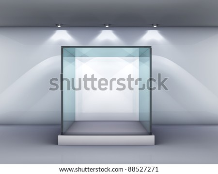 Empty glass showcase in the gallery - stock photo