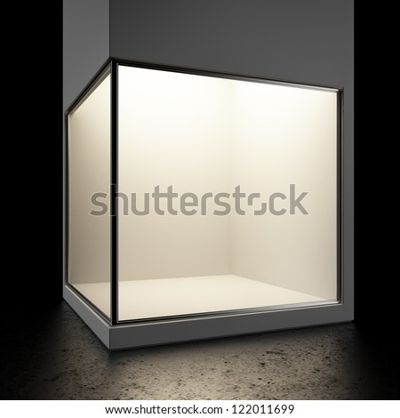 Empty glass showcase isolated on a black background - stock photo