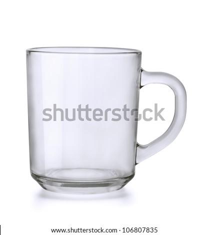 Empty glass tea mug isolated on white - stock photo