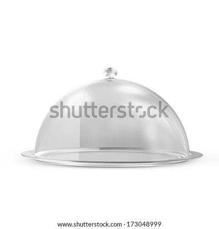 Empty Glass Tray isolated on white background - stock photo
