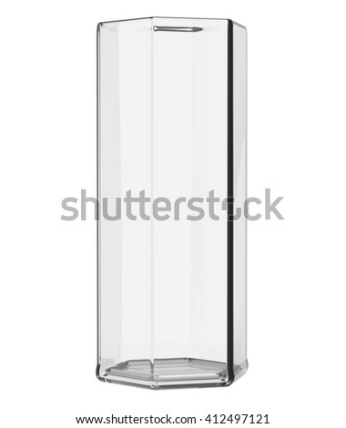 Empty glass vase isolated on white background. Include clipping path. Front view. 3D illustration