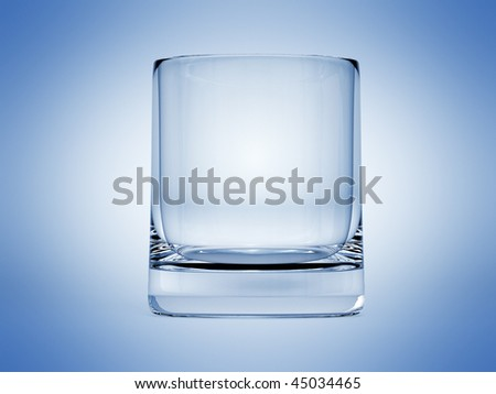 Empty Glass with Blue bakground - stock photo