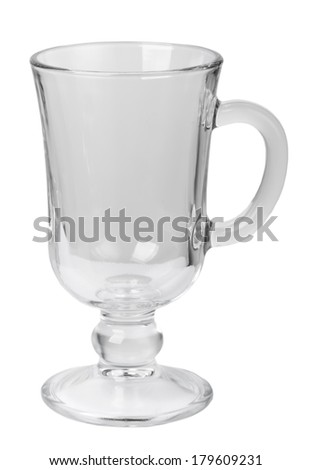 Empty glass with handle isolated on white background