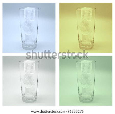 Empty glass with ice in four color
