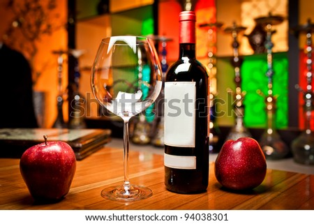 Empty glasses and wine set in restaurant - stock photo