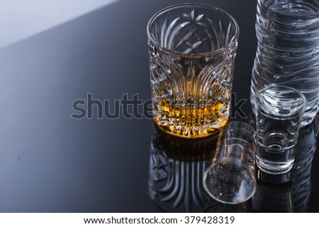 empty glasses from drinking alcohol shots