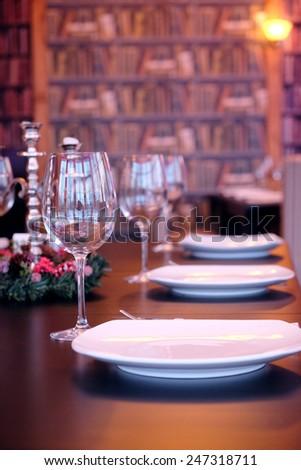 Empty glasses in restaurant - stock photo