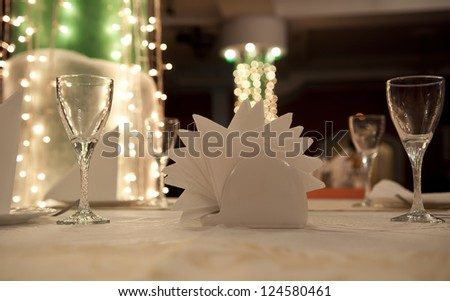 Empty glasses in restaurant table - stock photo