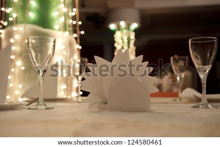 Empty glasses in restaurant table - stock photo