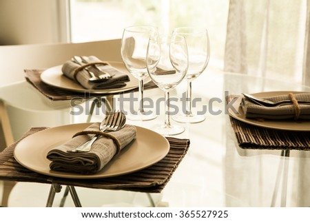 Empty glasses in restaurant  - vintage filter - stock photo