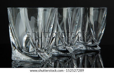 Empty glasses, isolated on black