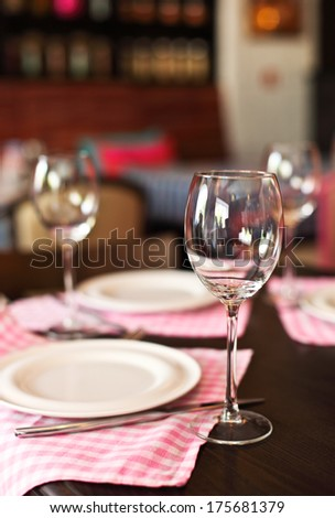 Empty glasses set in the restaurant. Close up - stock photo