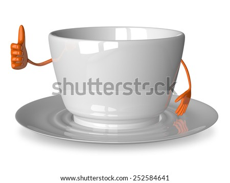 Empty glossy white cup character giving thumb up isolated on white - stock photo