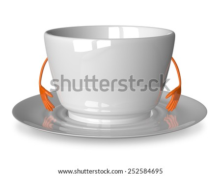 Empty glossy white cup character on saucer isolated on white - stock photo