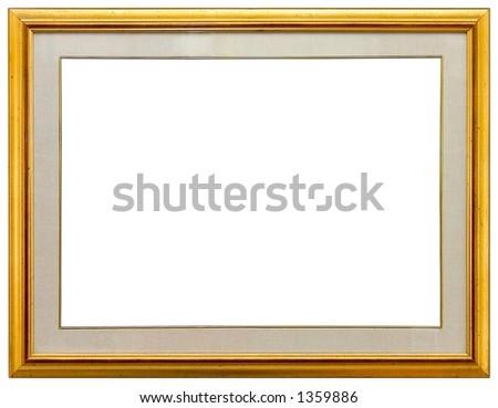 Empty gold frame - stock photo