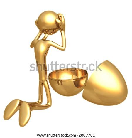 Empty Gold Nest Egg - stock photo