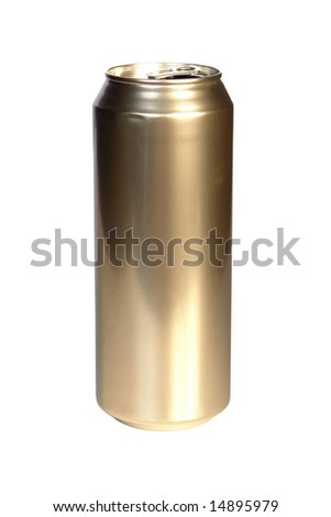 Empty golden beer can isolated on white background
