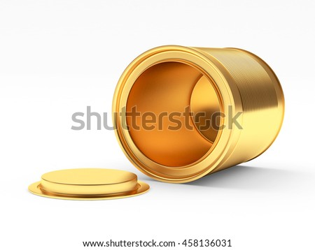 Empty golden can with the lid open isolated on white background. 3D illustration