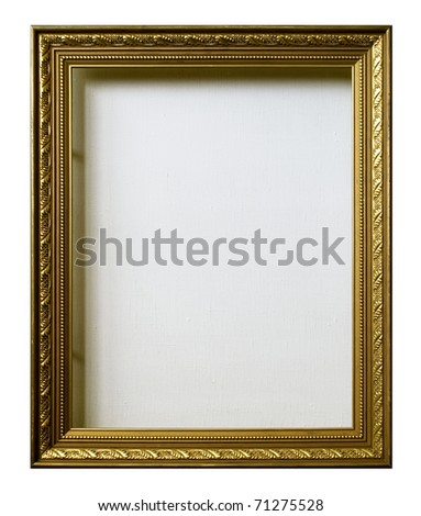 empty golden frame for picture with artistic canvas - stock photo