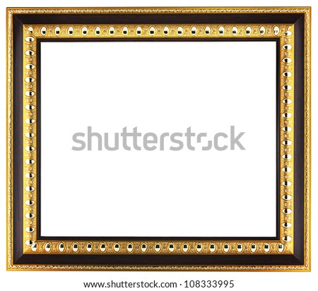 Empty golden picture frame isolated on white background - stock photo