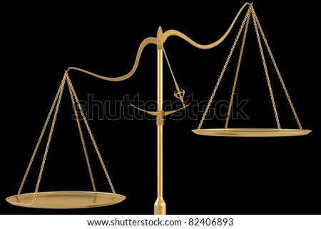 Empty golden scales. isolated on black. - stock photo
