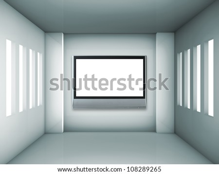 Empty gray interior with windows and lcd tv - stock photo