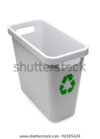 Empty gray plastic recycle bin with green recycle logo over white background - stock photo