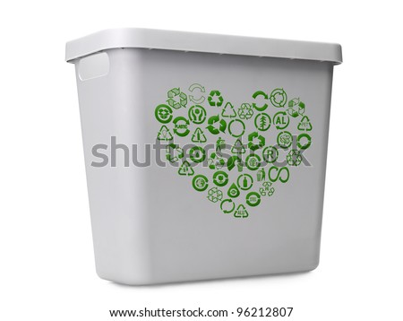 Empty gray plastic recycle bin with green recycle pictograms arranged into heart shape over white background - stock photo