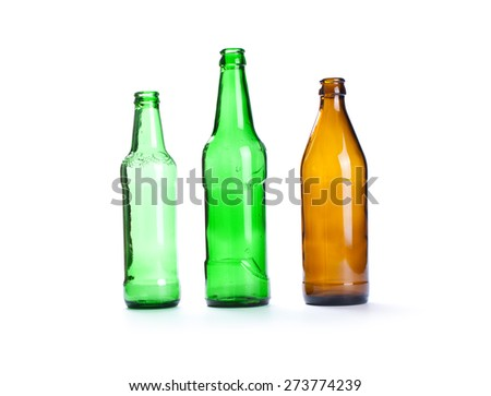 Empty green and brown beer bottle isolated on the white background - stock photo