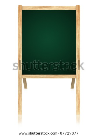Empty Green board with wooden frame isolate on white background.