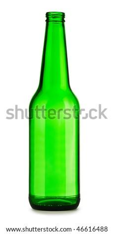 empty green bottle of beer - stock photo