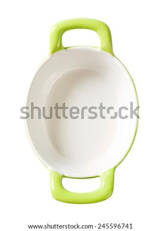 Empty green ceramic baking dish - stock photo