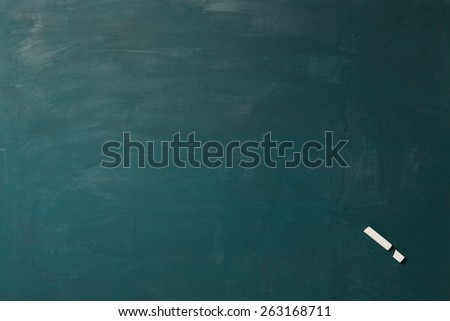Empty green chalkboard with broken chalk as exclamation point in one corner