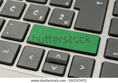 Empty green computer key on keyboard. - stock photo